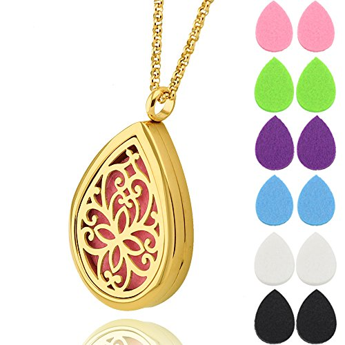 Gold Teardrop Essential Oil Diffuser Necklace Pendant Aromatherapy Jewelry for Women and Girls with 24 Inch Chain & 12 Felt Pads