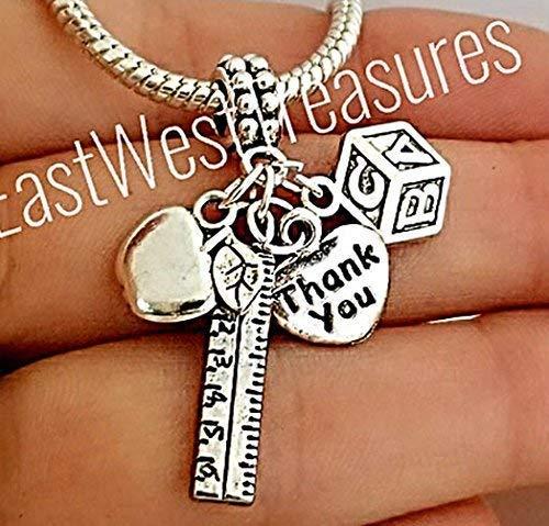 Teacher's apple ABC Ruler charms pendant-For charm bracelets & charm necklaces