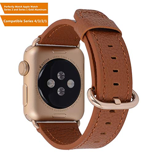 Compatible iWatch Band 38mm 40mm - PEAK ZHANG Women Light Brown Genuine Leather Replacement Wrist Strap with Gold Adapter and Buckle Compatible Series 4 (40mm) Series 3 2 1 (38mm) Sport and Edition