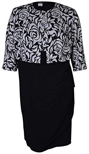 MSK Women's Floral Print 2PC Jersey Dress Jacket Set (16W, Black White)