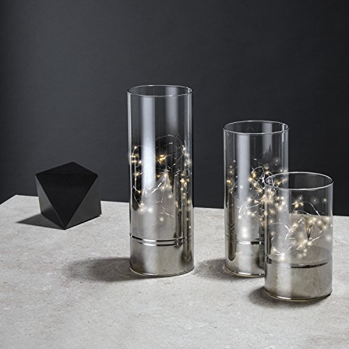 Hurricane Glass Cylinder Lanterns with Fairy Lights, Decorative Modern Centerpiece, Timer Option, Batteries Included, White LEDs - Set of 3