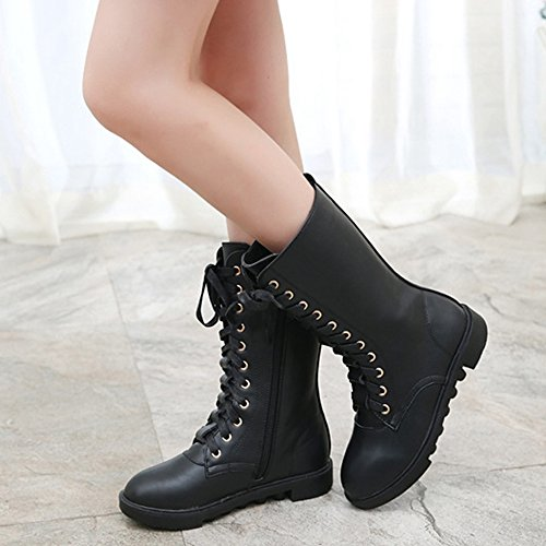 YING LAN Kids Girls Boys Leather Round Toe Military Lace Up Mid Calf Combat Boots Winter Warm Snow Boots