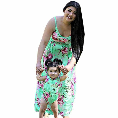 Price comparison product image Anboo Mommy And Baby Girl Floral Matching Outfit Maxi Dress Jumpsuit Party Festival Family Clothes (2XL,  Mother)