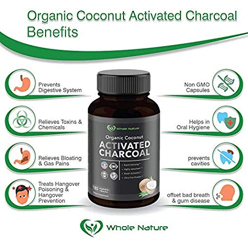 Whole Nature 180 Capsules Pure Organic Coconut Activated Charcoal Supplements Natural Pills for Body Detox Digestive System Teeth Whitening Detoxification Gas Stomach Bloating Tablets by Whole Nature (Image #7)