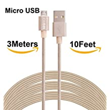 SEGMOI (TM)3M/10Ft Extra Long Tangle Free Nylon Braided High Speed Micro USB Charging Data Sync Cable Android Charger Cord With Aluminum Heads for Samsung HTC LG Huawei Xiaomi ZTE (1Pack-Golden)