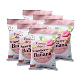 Wel-B Freeze-dried Strawberry and Banana, Freeze-dried Fruit Snack Unsweetened and 0% Fat, Real Healthy Snack 15g.(Pack6)
