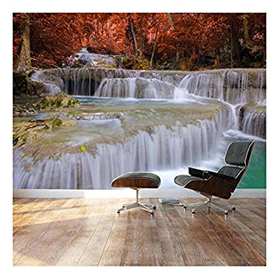 Secluded Waterfall Surrounded by red Autumn Trees Landscape Wall Mural, That's 100% USA Made, Stunning Piece of Art