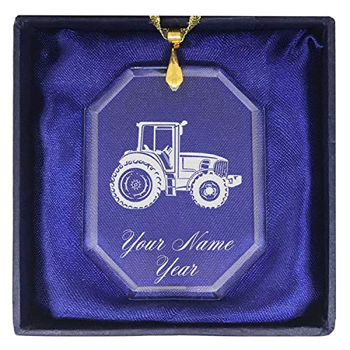 LaserGram Christmas Ornament, Farm Tractor, Personalized Engraving Included (Rectangle Shape)