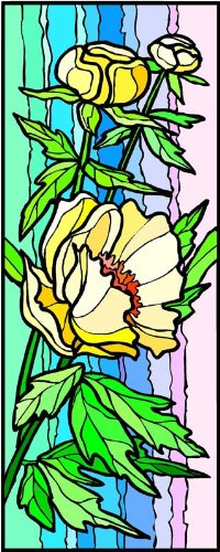 Yellow Peony Flowers - Etched Vinyl Stained Glass Film, Static Cling Window Decal (Peony Stained Glass)