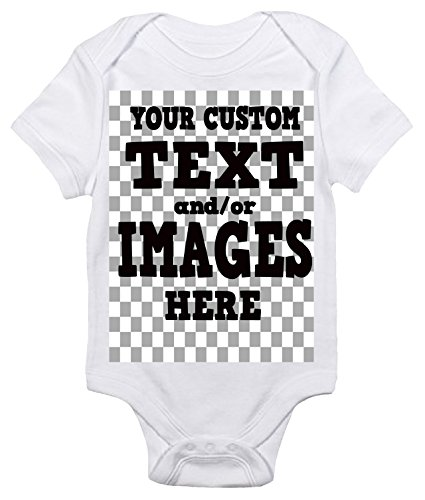 Laughing Giraffe Customized One-Piece Baby Bodysuit Romper for Boys and Girls (6-12 Months, White)