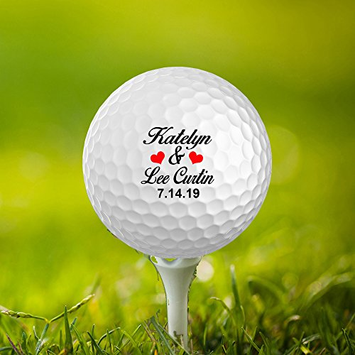 prAna Wedding Date and Name, Mr & Mrs Customized Golf Balls, Personalize Wedding Favors,Set of 3,Printed,Save The Date (Bride)