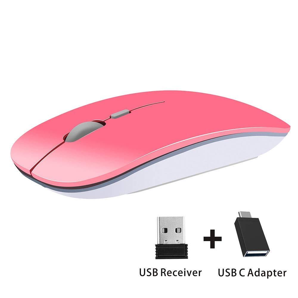 Coener T9 Ratón Inalámbrico Delgado,Portatil Silencioso Ratón con Receptor Nano,1600 dpi Mango Ergonómico Wireless Mouse para Macbook, PC, Ordenador Portáti ...
