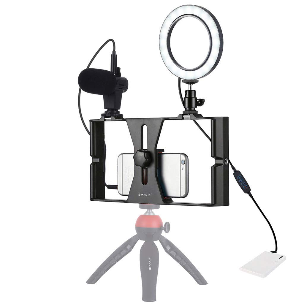 Basde Ring Light with Tripod Stand & Cell Phone Holder for Live Stream/Makeup, Mini Led Camera for PULUZ Video/Photography Compatible with iPhone Xs Max XR Android (Red) by Basde