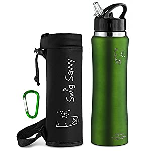 Swig Savvy Stainless Steel Insulated Leak Proof Flip Top Straw Cap Water Bottles with Pouch & Clip, Green, 24oz