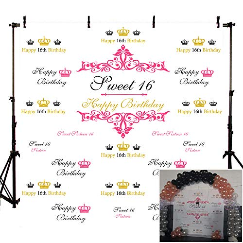 Mehofoto Sweet Sixteen Birthday Backdrop Step and Repeat Pink and Gold Crown Photo Booth Background 8x8 Retro Floral Pattern Vinyl Backdrops for Girls Photo Studio -