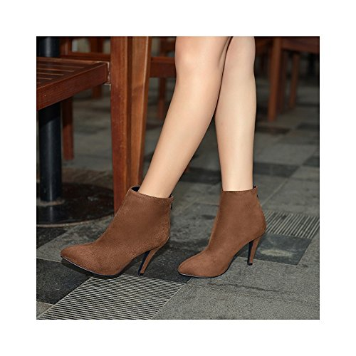 OCHENTA Alta con botas de los zapatos del partido de la boda yardas grandes 35-43 Marron