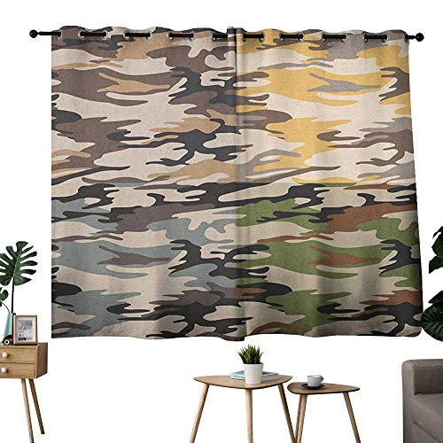 bybyhome Camo Grommets Noise Isolation Darkening Curtains Camouflage Patterns in Four Going Undercover Combination Illustration Curtain Living Room Multicolor W84 x L72 ()