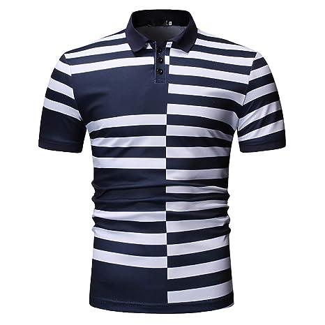 G&Armanis shop Camiseta Delgada para Hombre, Elegante Polo a Rayas ...