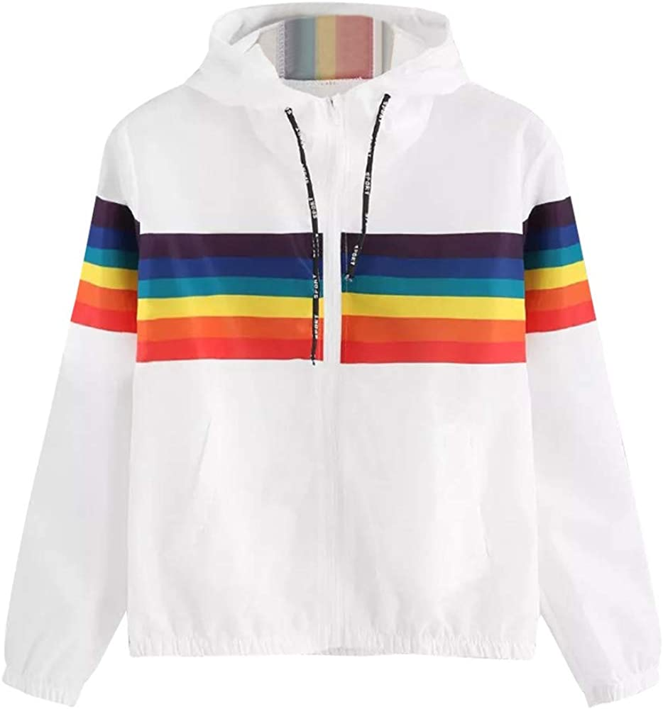 Leewa Women Hoodie Rainbow Zip Lightweight Pullovers White Hoodie Girl Tumblr Long Sleeve Autumn Winter Raincoats Sweatshirt