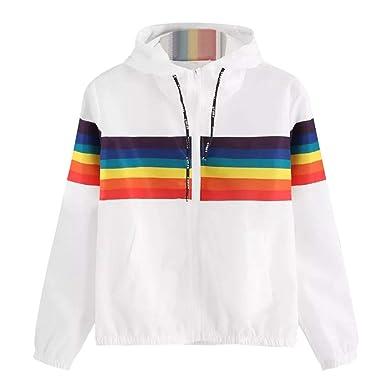 quality design c74cf 7e4df YunYoud Damen Langarm Rainbow Patchwork O Hals Sweatshirt ...