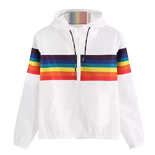 1e7e2c257f51 NUWFOR Women s Round Neck Long Sleeve Full Zip-up Hoodie with  Drawstrings White