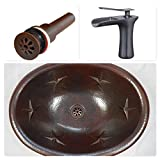 """SimplyCopper 19"""" Oval Copper Drop In Sink with Star Design, Faucet and Drain"""