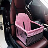 DAN Pet Booster Seat Dog Cat Cage Comfort Travel Waterproof Foldable Safety Car Front or Rear Seats with Seat Belt Tether (Pink)
