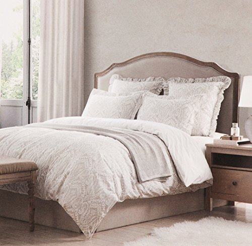 Tahari Home Vintage Damask Ornate Scroll Luxury Duvet Cover 3 Piece Bedding Set Antique Bohemian Paisley Medallion Taupe Tan Ivory Patterned 300tc Cotton Full/Queen or King (Queen, Washed Sand) - Shabby Chic White Sand