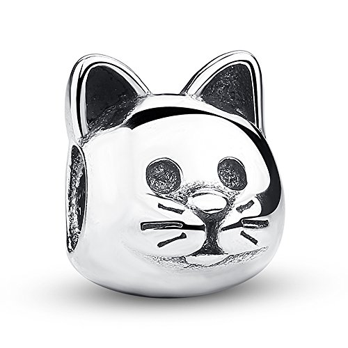 Everbling Cute Cat Pussy Big Stone Charm 925 Sterling Silver Bead for European Charm Bracelet (Curious ()
