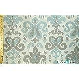 "White, Light Grey and Light Blue Modern Damask Print Upholstery Fabric Polyester Medium Weight 60"""