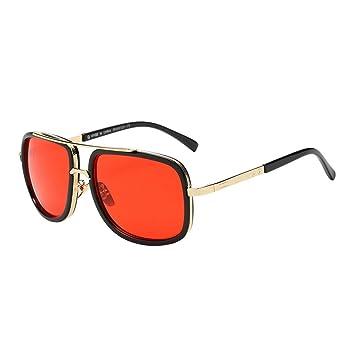 Amazon.com: Moda anteojos de sol Mose cuadrangular Metal ...