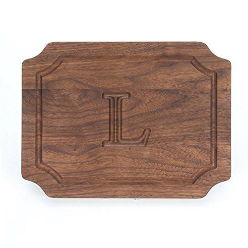 BigWood Boards W300-L Cutting Board, Monogrammed Wedding Gift Cutting Board, Small Cheese Board, Walnut Wood Serving ()