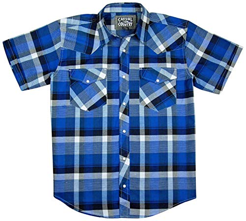 Men's Classic Plaid Short Sleeve Casual Western Shirt; Pearl Snap Front (Medium, Blue) ()