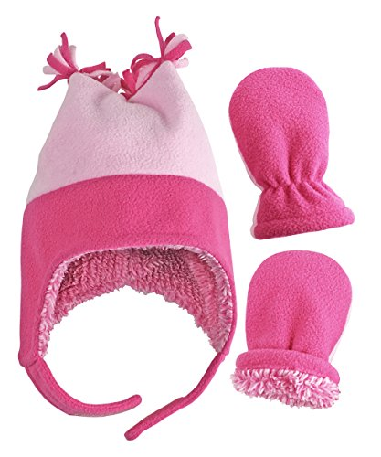 rls and Baby 4 Corner Sherpa Lined Fleece Snow Hat Mitten Set (Fuchsia/Pink Infant 1, 3-6 Months) ()