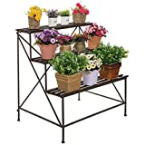 MyGift Freestanding Decorative Rustic Style 3 Tier Brown Metal Planter Stand Plant Shelf Flower Pot Rack For Sale