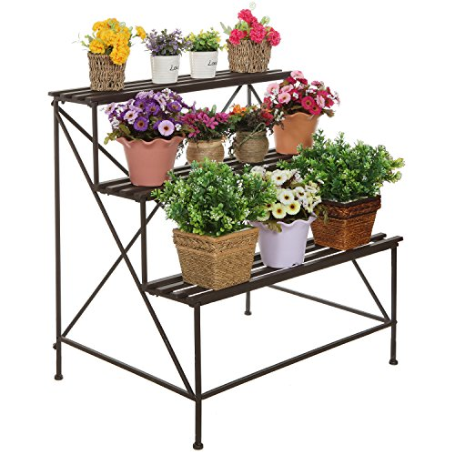 MyGift Freestanding Decorative Rustic Style 3 Tier Brown Metal Planter Stand Plant Shelf Flower Pot (Country Plant Stands)