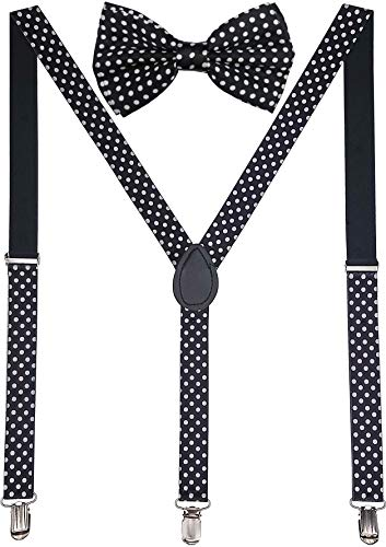 Navisima Adjustable Elastic Y Back Style Suspender With Bowtie Set for Men and Women With Strong Metal Clips, White Polka ()