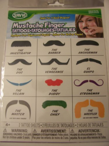 Savvi Mustache Finger Temporary Tattoos ~ 2 -
