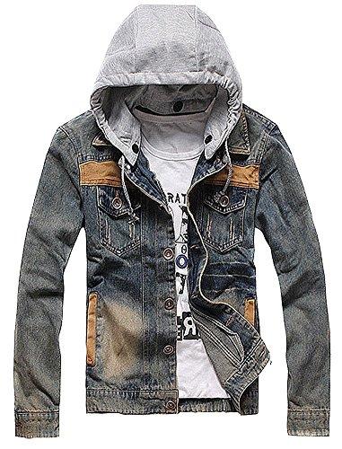 Vshop-2000 Men's Retro Contrast Color Hooded Bleached Denim Jacket Coat