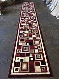 Modern Long Runner Geometric Area Rug Red Americana Design 125 (32 Inch X15 Feet 10 Inch )