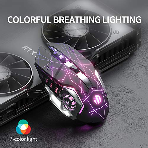 Wireless Mouse, Inphic Rechargeable Silent USB 2.4G Computer Wireless Gaming Mouse Nano Receiver, 1600DPI, Multi-Color LED Backlit, 6-Button, Plug & Play for Laptop PC, Windows, Mac