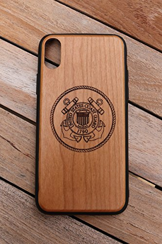 - (CHX) United States Coast Guard Logo Custom Engraved On A Cherry Wood Phone Case With Flexible TPU Sides For IPhone X (CHX-USCG)