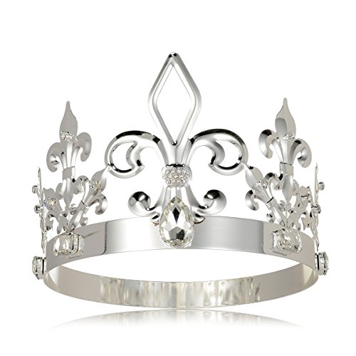 DcZeRong King Crowns Adult Prince Men Birthday Prom Kings Costume Full Round Metal Crystal Crown