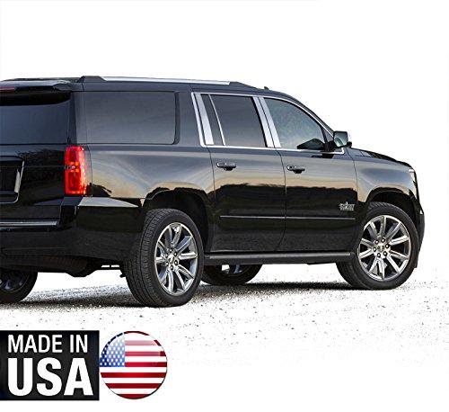 (Made in USA! Works with 2015-2018 Chevy/GMC Suburban/Yukon XL 8PC Stainless Steel Chrome Pillar Post Trim)