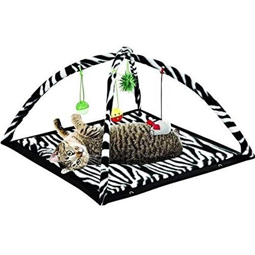 - Zebra Print Cat Play Tent Dangle Toys Pets Sleep Play Bed Pad Cushion Kitten Fun