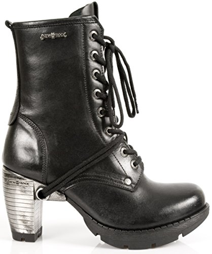 NEWROCK New Rock M.TR001-S1 Stivali stringati in pelle nera