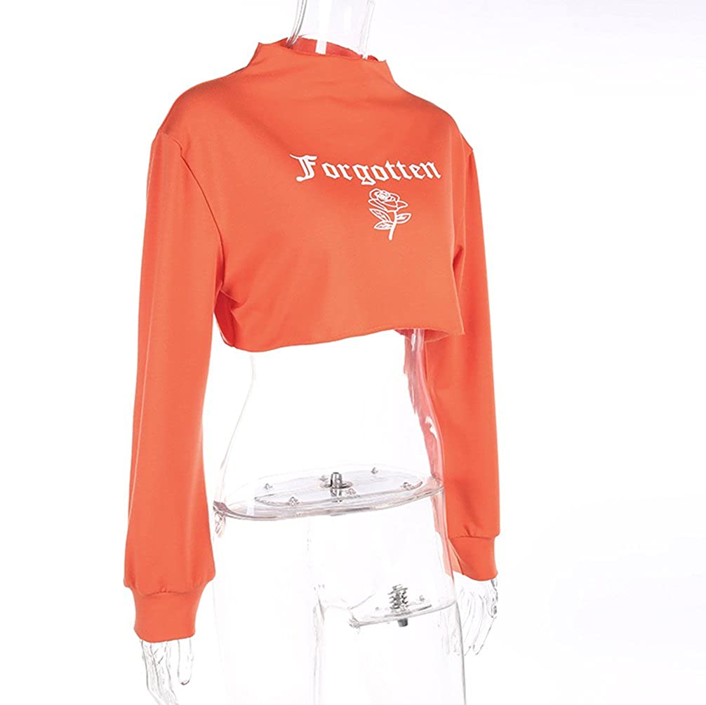 Yuehen Cropped Letter Print Sexy Hoodie Sweatshirt Long Sleeve Moletom Pullover Womens Sudaderas Mujer Crop Top Hoodies at Amazon Womens Clothing store: