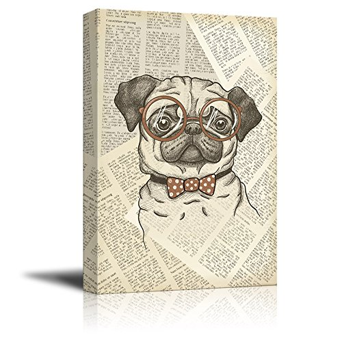 Creative Animal Figure on Vintage Paper A Pug Wearing Glasses Gallery