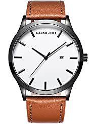 Gets Men Classic Watches Leather Strap Simple Dial Date Calendar Analogue Display Wrist Watch (Brown)
