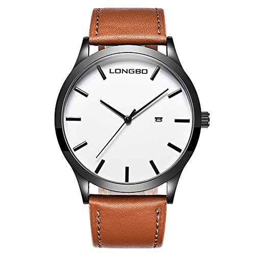 Face Leather Strap Watch - gets Men Classic Watches Leather Strap Simple Dial Date Calendar Analogue Display Wrist Watch (Brown)